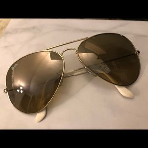 Ray-Ban Gold and White Aviators